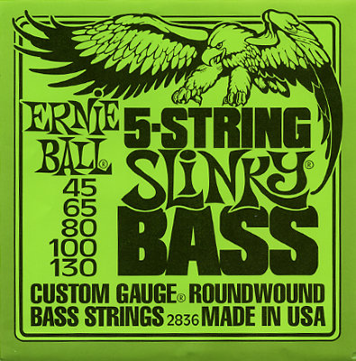 Струны для бас гитары ERNIE BALL 2836 .045-.130, 5 струн, Nickel wound